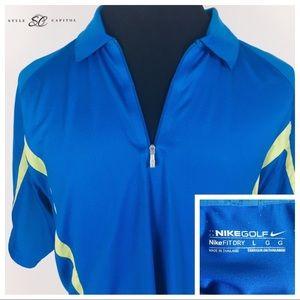 Nike Men's Blue Green Half Zip Polo Shirt Size LG